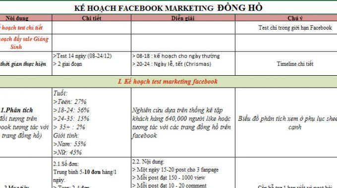 Chia sẻ kế hoạch Facebook Marketing (Đồng hồ) – Mẫu Plan Facebook Marketing